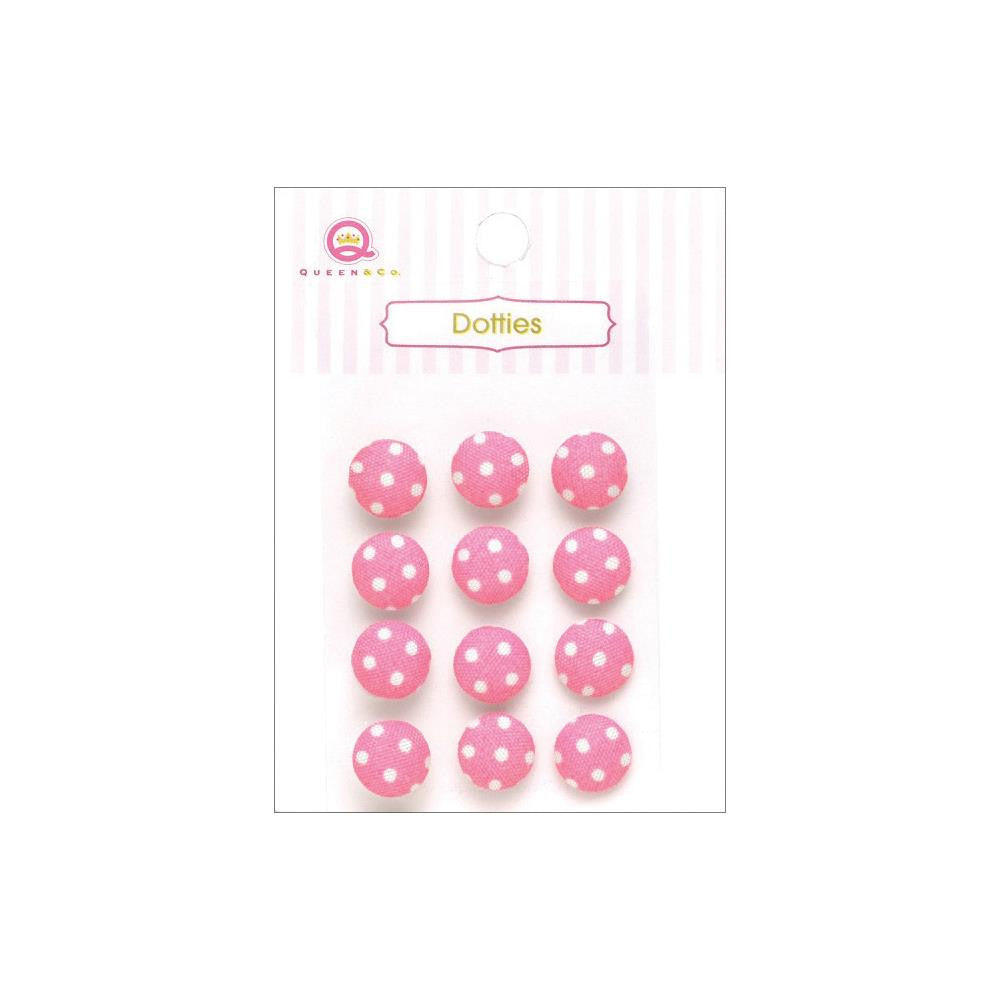 Queen & Co, Dotties Fabric Dots, Self-Adhesive, 12/Pkg - Pink