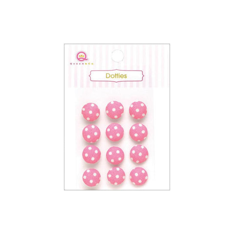 ***New Item*** Queen & Co, Dotties Fabric Dots, Self-Adhesive, 12/Pkg - Pink