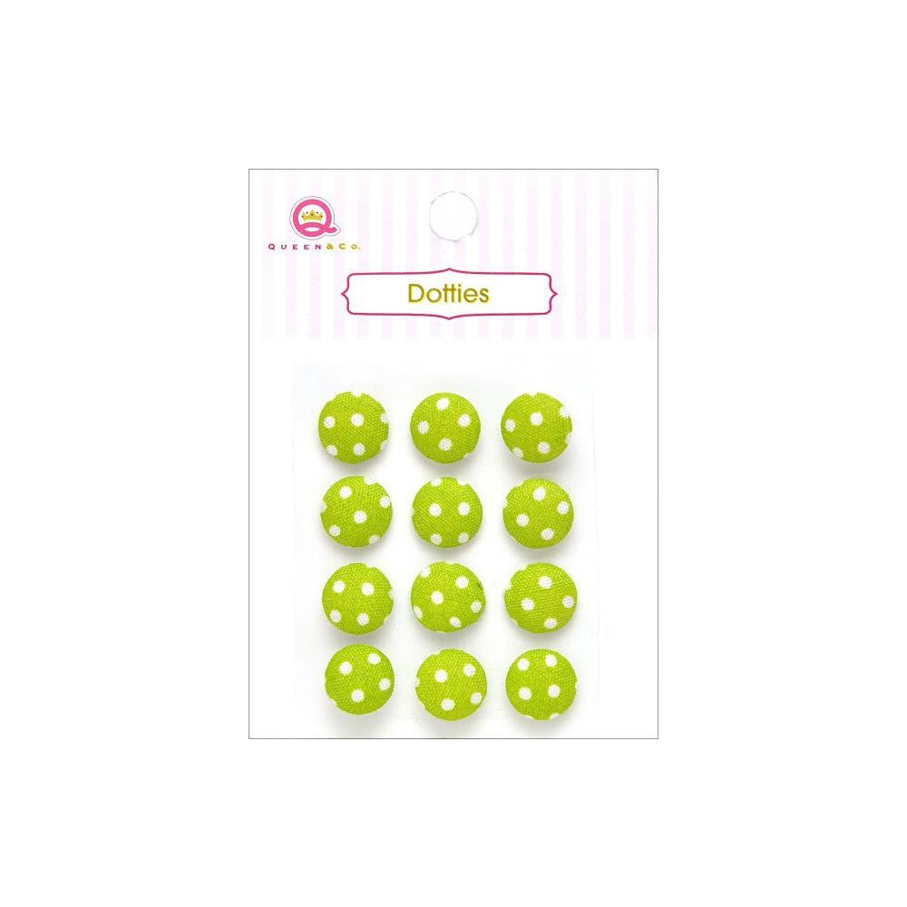 Queen & Co, Dotties Fabric Dots, Self-Adhesive, 12/Pkg - Green