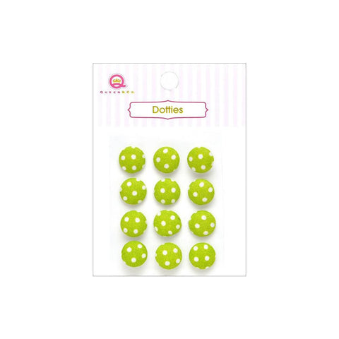 ***New Item*** Queen & Co, Dotties Fabric Dots, Self-Adhesive, 12/Pkg - Green