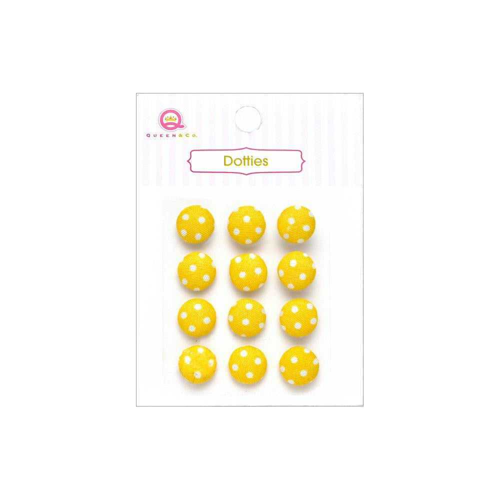 Queen & Co, Dotties Fabric Dots, Self-Adhesive, 12/Pkg - Yellow