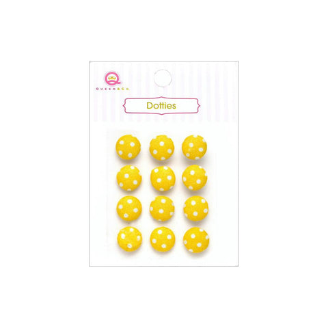 ***New Item*** Queen & Co, Dotties Fabric Dots, Self-Adhesive, 12/Pkg - Yellow