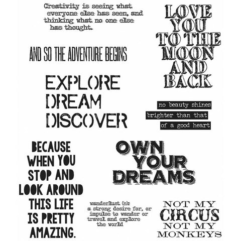 Stampers Anonymous - Tim Holtz Cling Stamps - Life Quotes