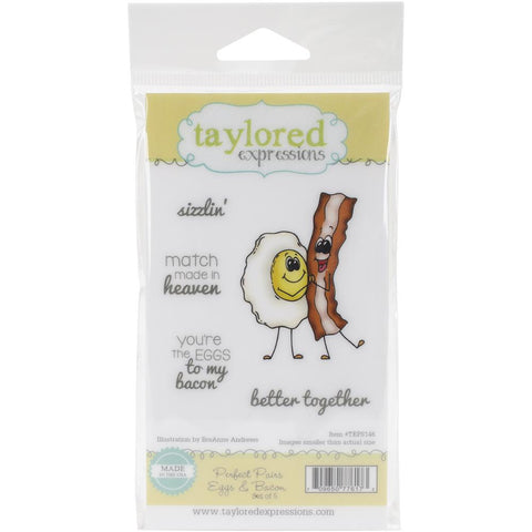 "Taylored Expressions Cling Stamp Set 5.5""X3"" - Perfect Pairs - Eggs & Bacon"
