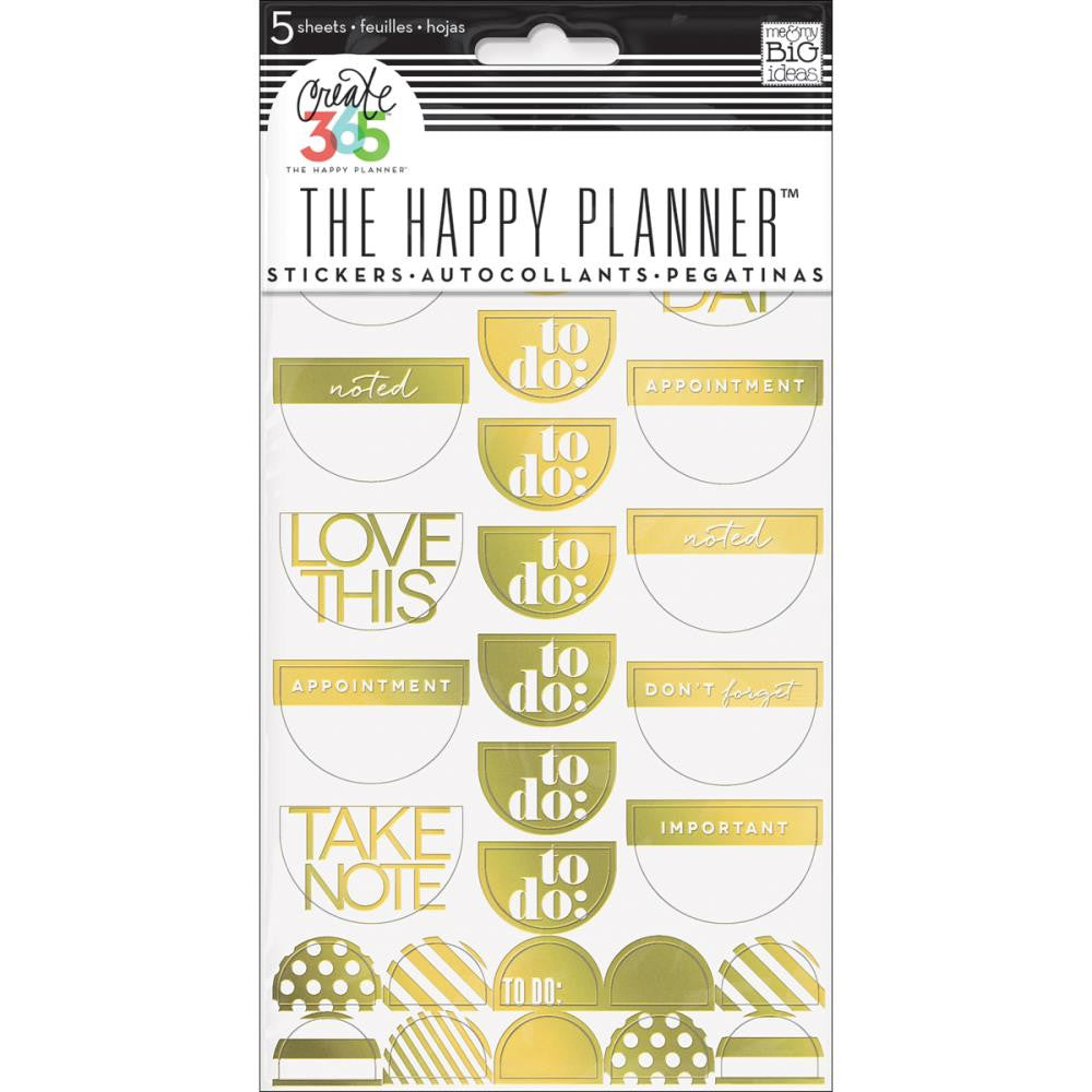 Me & My Big Ideas - Create 365 The Happy Planner Stickers - Take Note Gold Foil
