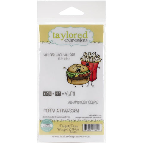 "Taylored Expressions Cling Stamp Set 5.5""X3"" - Perfect Pairs - Burger & Fries"