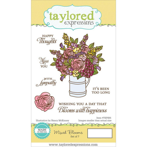 "Taylored Expressions Cling Stamp  5.5"" x 3"" - Mixed Blooms (Coordinates with Mixed Blooms Die Set)"