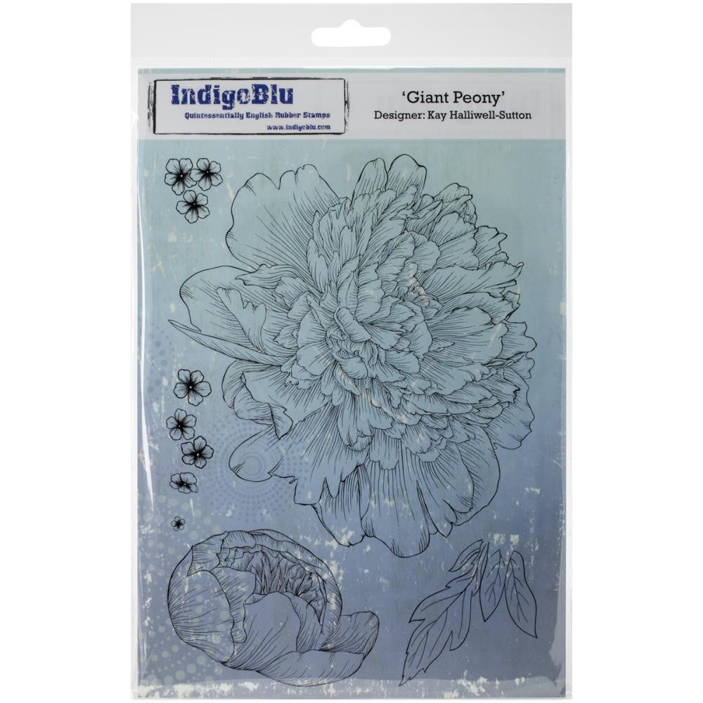 "IndigoBlu - Cling Mounted Stamp 9.25"" x 6.25""  - Giant Peony"