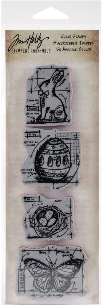 Stampers Anonymous - Tim Holtz Blueprint Strip Cling Stamps - Easter