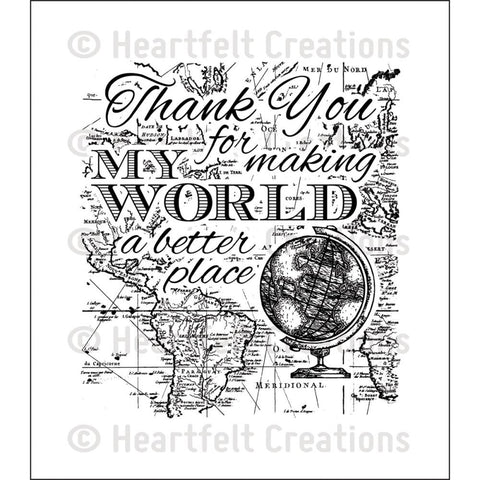 "Heartfelt Creations Cling Rubber Stamp Set 5""X6.5"" - My World"