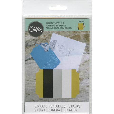 "Sizzix Inksheets Transfer Film Sheets 4""X6"" 5/Pkg - Assorted - Gold, Silver, White & Black"