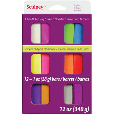 ***New Item*** Sculpey III Polymer Clay Multipack 1oz 12/Pkg - Brights