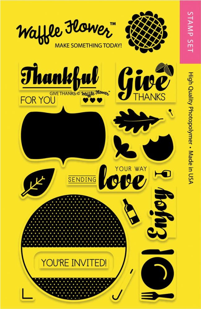 "Waffle Flower - 4""x6"" Clear Stamp Set - Give Thanks"