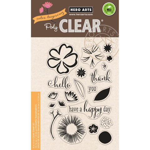 "Hero Arts - Clear Stamp - 4"" x 6"" - Color Layering Happy Day Flowers"