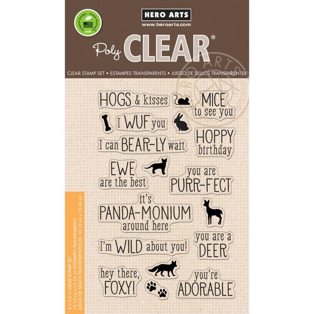 "Hero Arts - Clear Stamp - 4"" x 6"" - Animal Messages"