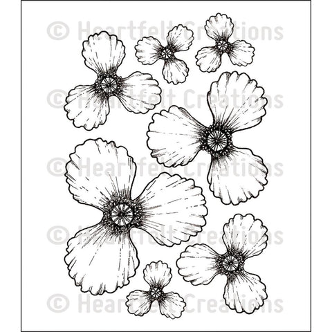 "Heartfelt Creations Cling Rubber Stamp Set 5""X6.5"" - Blazing Poppy (Coordinates with ""Blazing Poppy Cut And Emboss Dies"")"