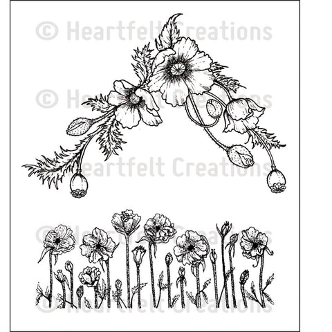 "Heartfelt Creations Cling Rubber Stamp Set 5""X6.5"" - Poppy Corner & Border"