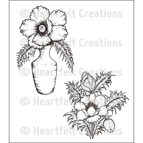 "Heartfelt Creations Cling Rubber Stamp Set 5""X6.5"" - Blazing Poppy Vase"