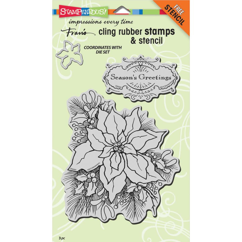 "Stampendous Jumbo Cling Rubber Stamp 7""X5"" Sheet - Create A Poinsettia Set (Coordinates with Create a Poinsettia Die)"