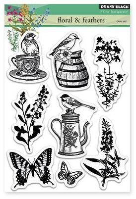 Penny Black Clear Stamp Sheet - Florals & Feathers