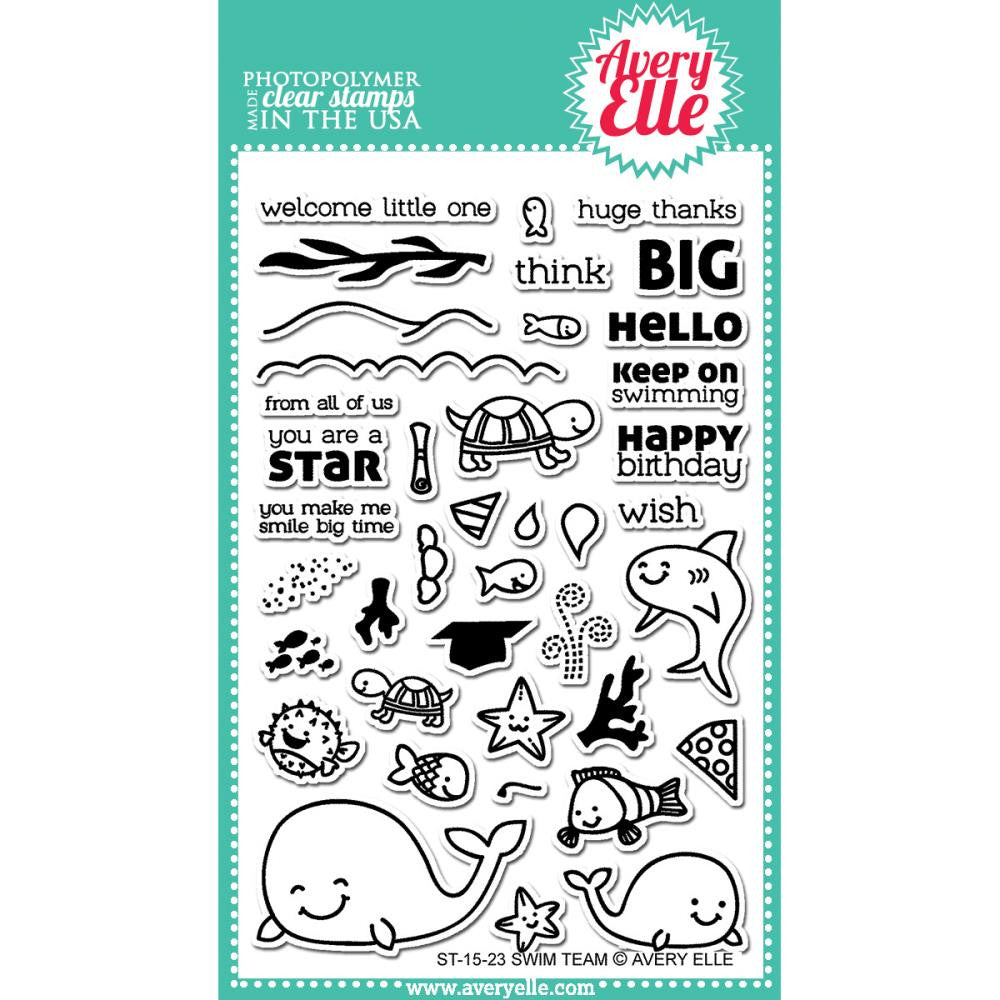 "Avery Elle Clear Stamp Set 4""X6"" - Swim Team (Coordinates With ""Swim Team"" Ellements Dies)"