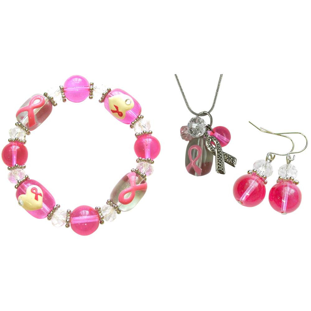Holiday Bead Kit - Breast Cancer Awareness - Pink & Clear