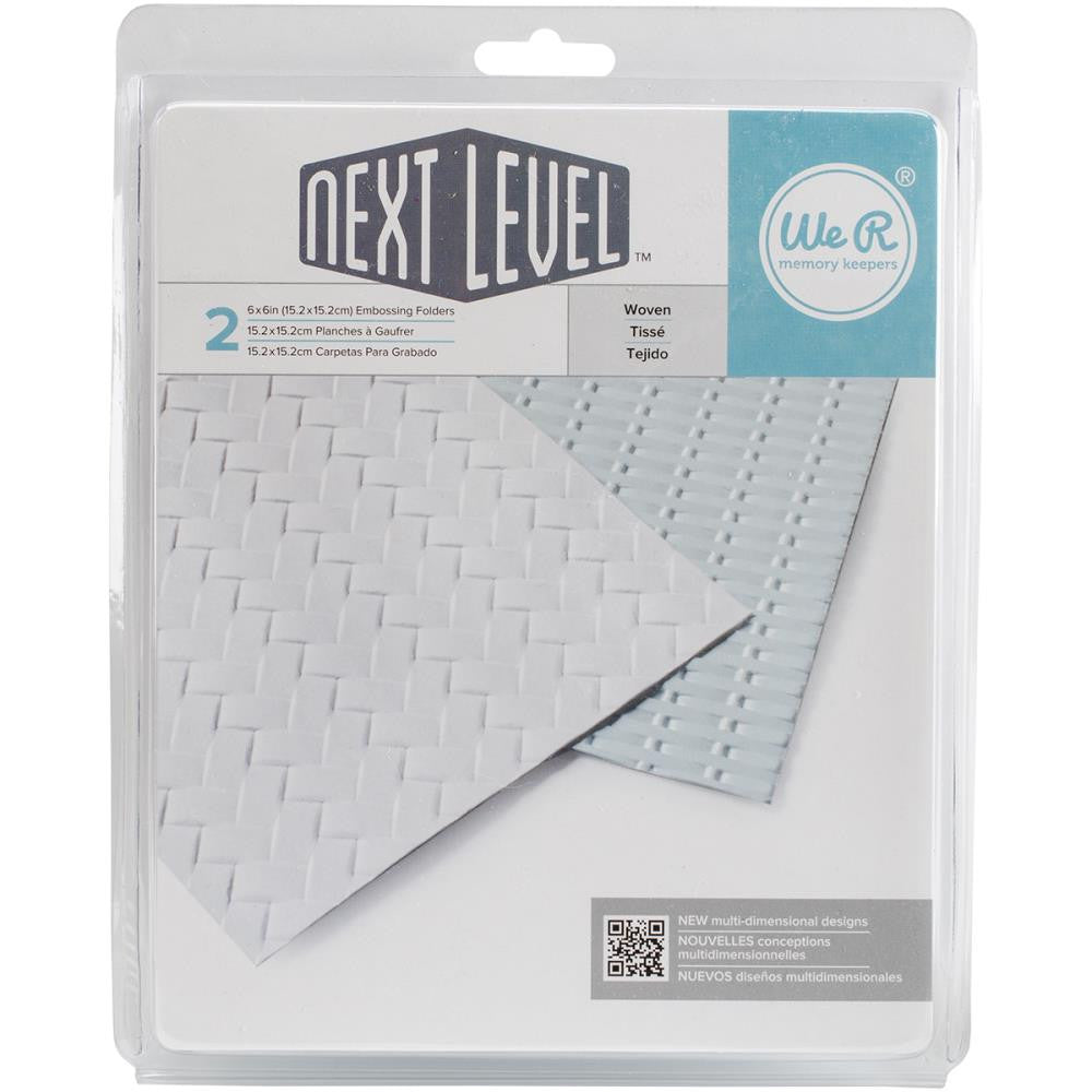 "We R Next Level Embossing Folders 6""X6"" 2/Pkg - Woven"