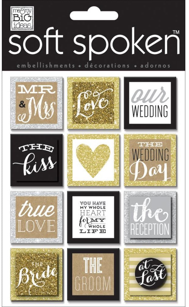 Me & My Big Ideas - Soft Spoken Embellishments - Squares, Gold Love