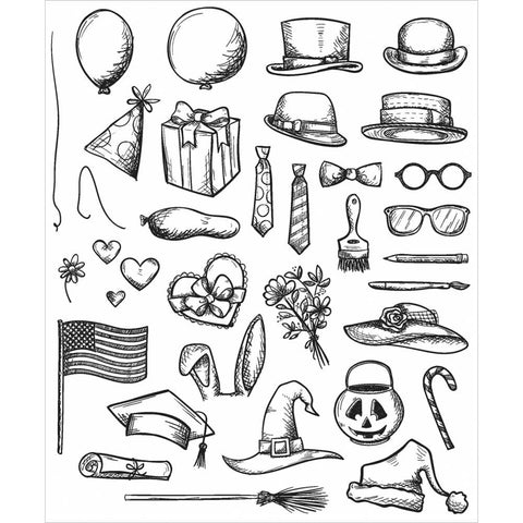 Stampers Anonymous - Tim Holtz -  Cling Rubber Stamp Set - Crazy Things