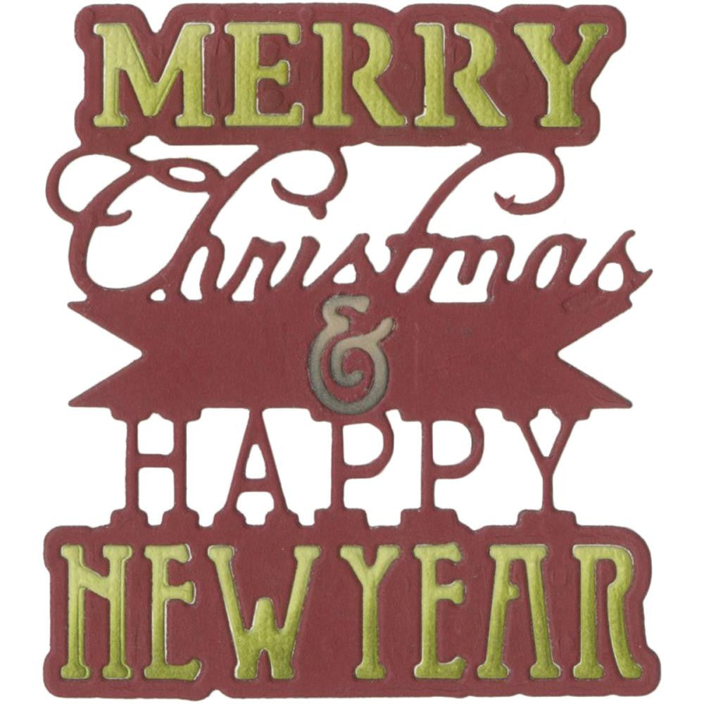 Sizzix Thinlits Dies - Merry Christmas & Happy New Year Phrase