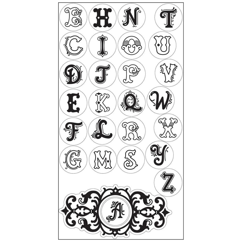 Sizzix - Interchangeable Clear Stamps By Jen Long - Monogram Alphabet