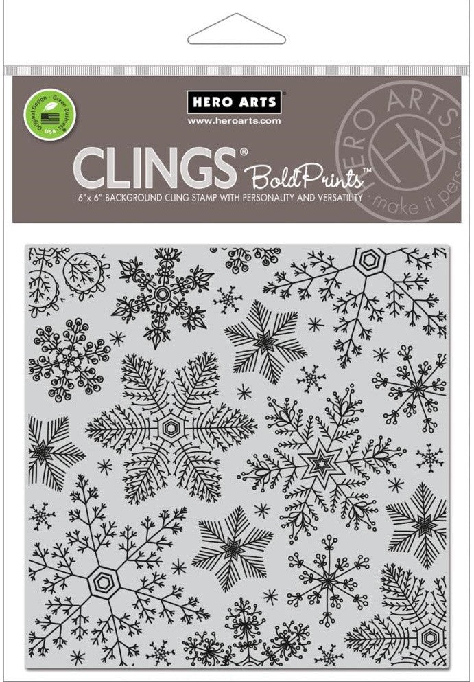 Hero Arts - Cling Stamps - Hand Drawn Snowflakes Bold Prints