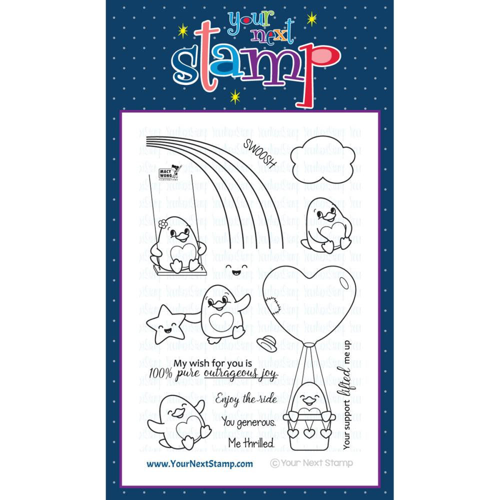 "Your Next Stamp Clear Stamp 4"" x 6"" - Waddles Rainbow Fun"