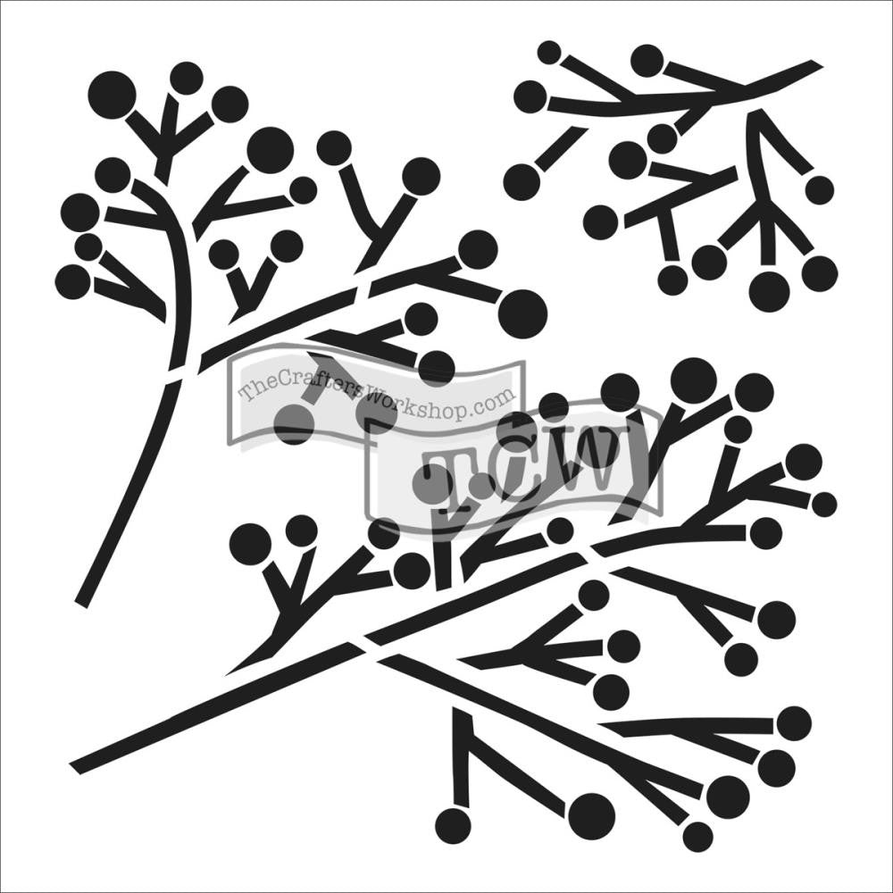 "TCW 6"" x 6"" Stencil - Balzer Designs  - Mini Twig & Berries"