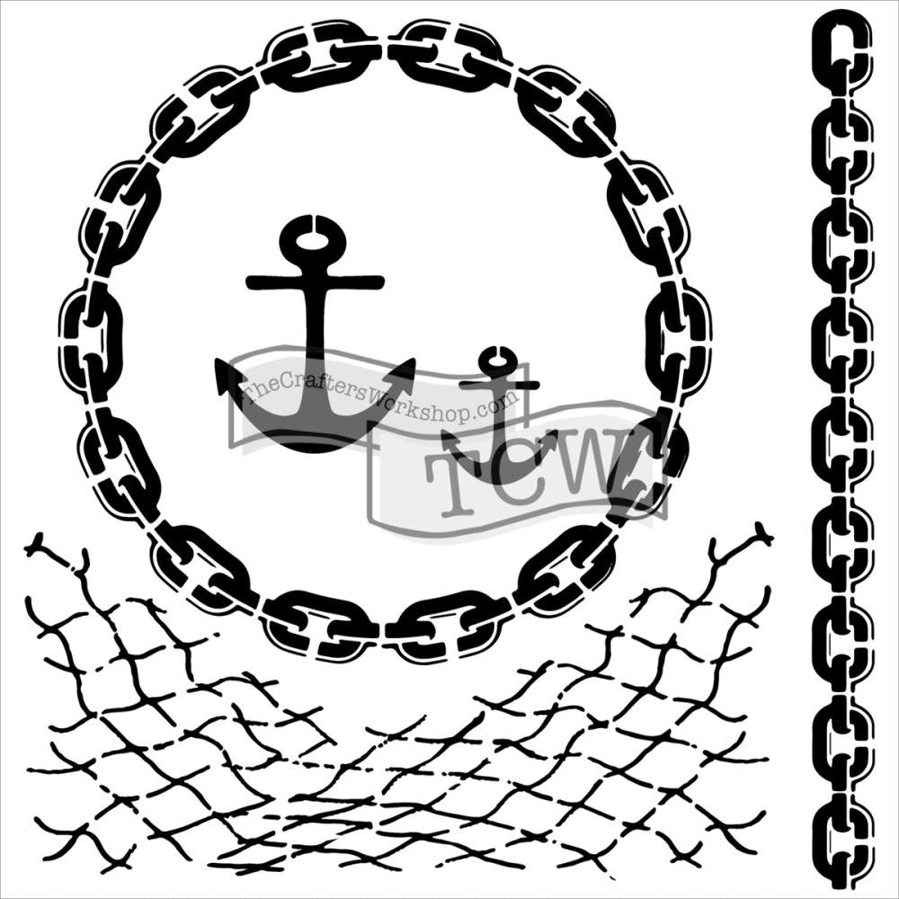"The Crafter's Workshop 6"" x 6"" Stencil - Nautical Chains"