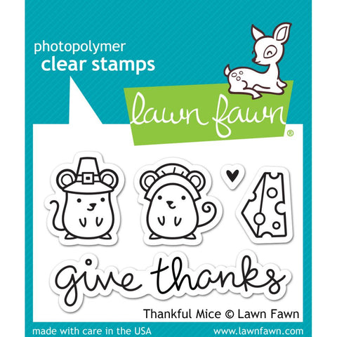 "Lawn Fawn Clear Stamps - Thankful Mice  3"" x 2""  (Coordinates with ""Thankful Mice Die"")"