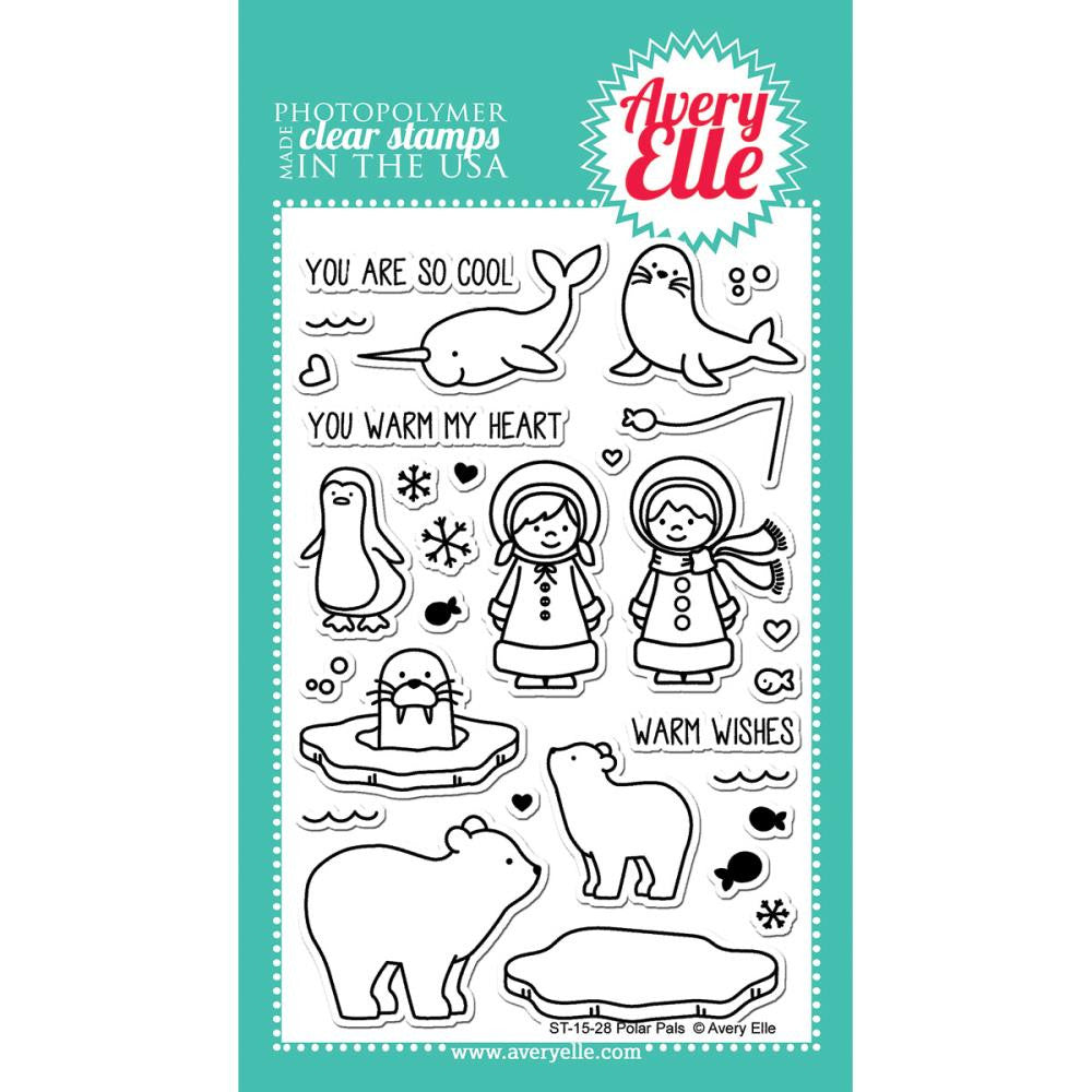 "Avery Elle Clear Stamp Set 4""X6"" - Polar Pals (Coordinates With ""Polar Pals"" Ellements Die)"