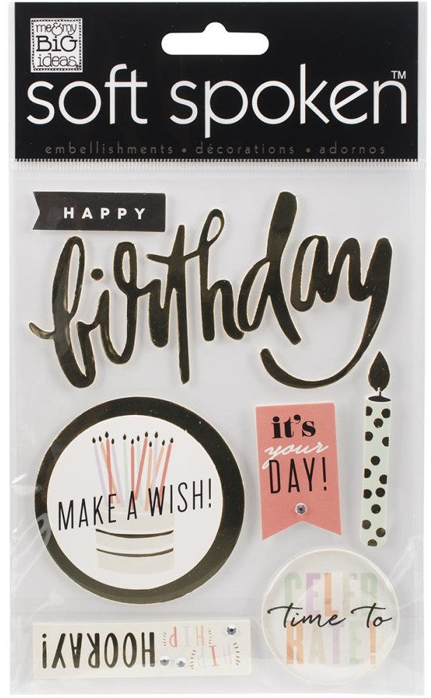 Me & My Big Ideas - Soft Spoken Embellishments - Hooray Birthday