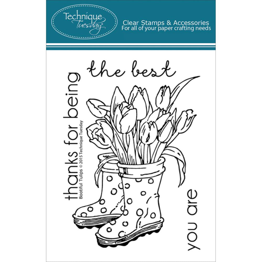 "Technique Tuesday Clear Stamps 3"" x 4"" - Bootiful Tulips"