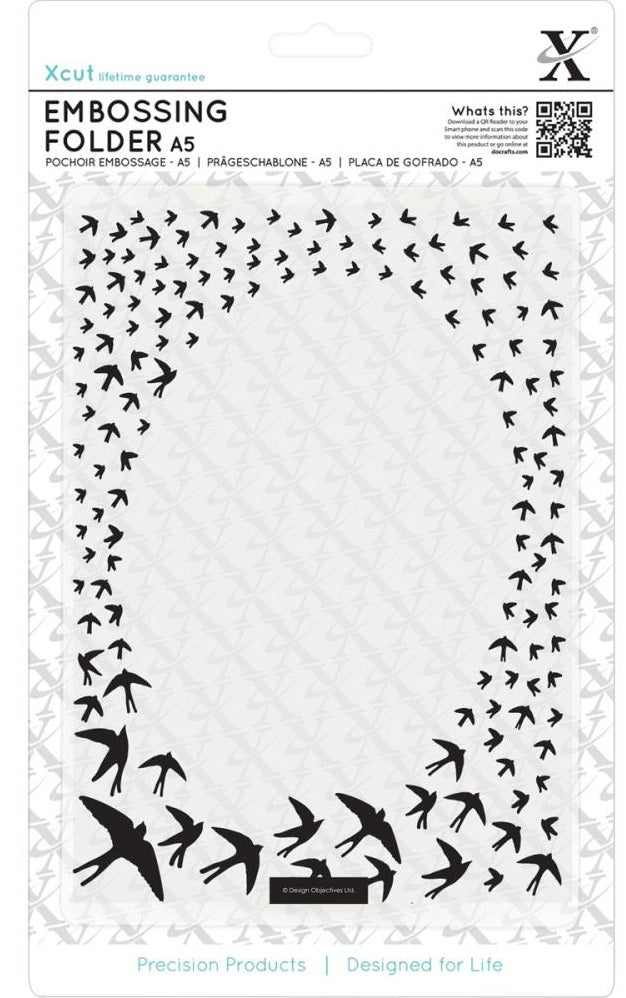 Xcut A5 Embossing Folder - Swallow Frame