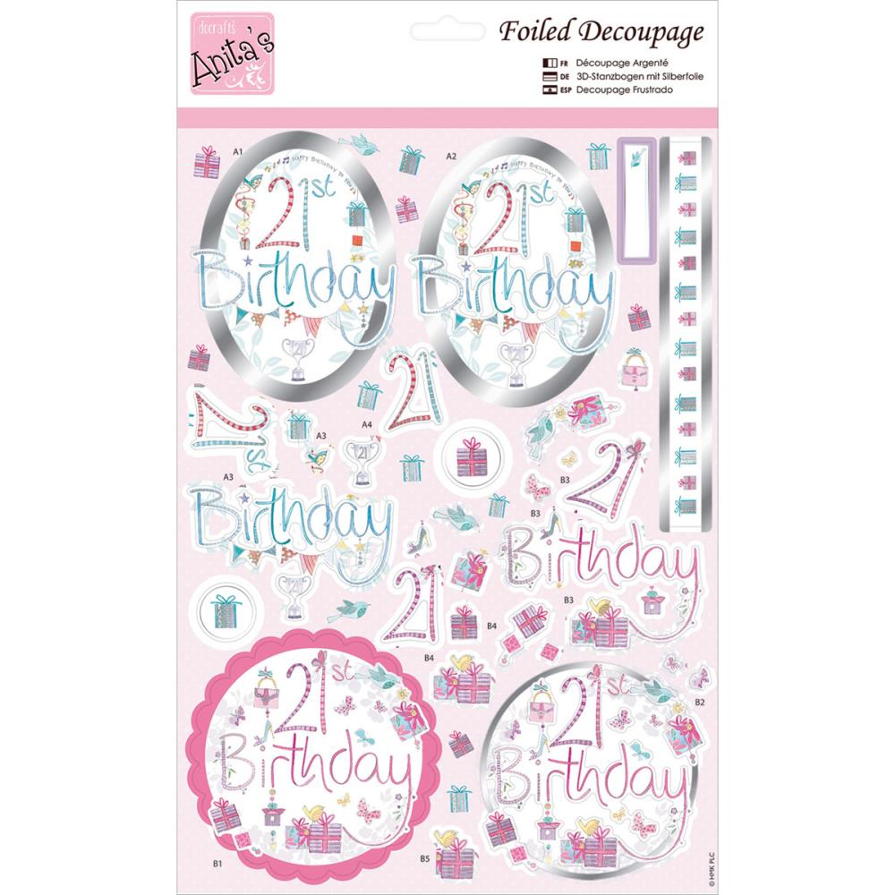 July4Special Anita's A4 Foiled Decoupage Sheet - 21st Birthday