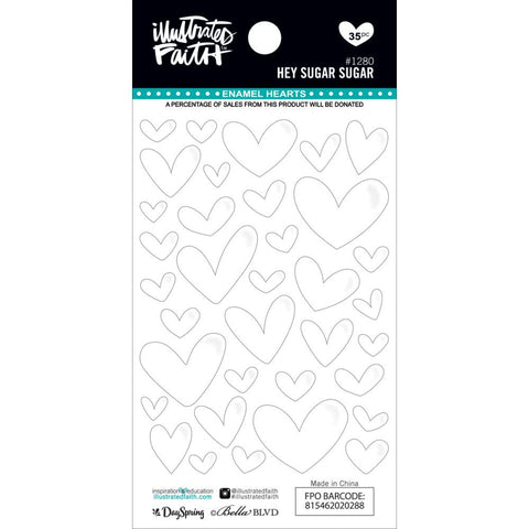 ***New Item*** Illustrated Faith,  Basics Enamel Heart Stickers - Hey Sugar, Sugar
