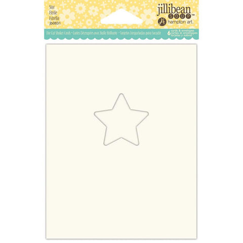"Jillibean Soup Shaker Cards W/Envelopes 5.5""X4.25"" 6/Pkg Star (Shaker Card)"