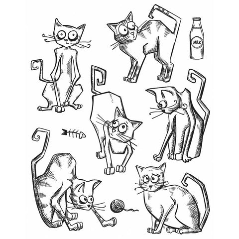 "***New Item*** Tim Holtz - Cling Rubber Stamp Set 7""X8.5"" - Crazy Cats"