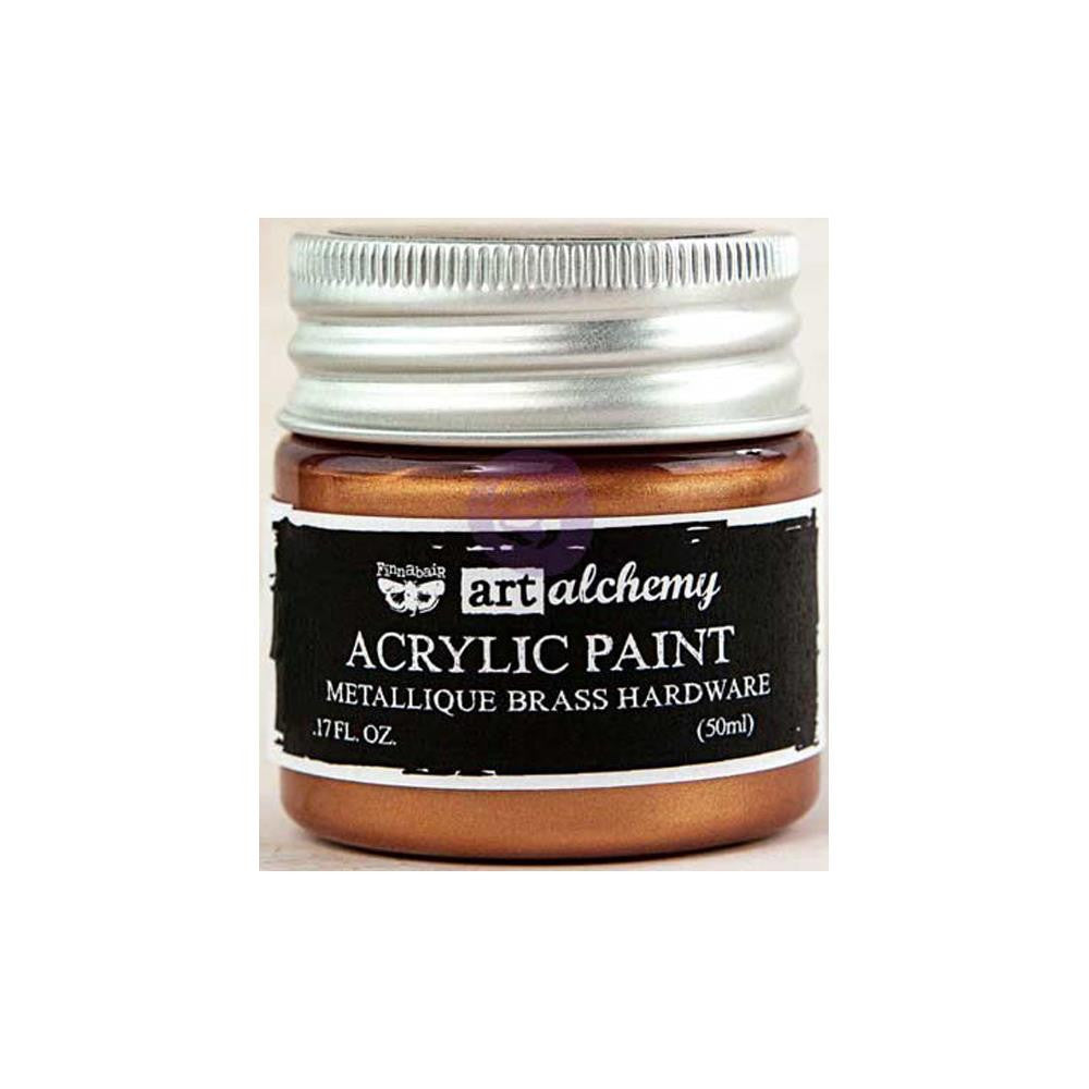 Finnabair Art Alchemy, Acrylic Paint 1.7 Fluid Ounces - Metallique Brass Hardware