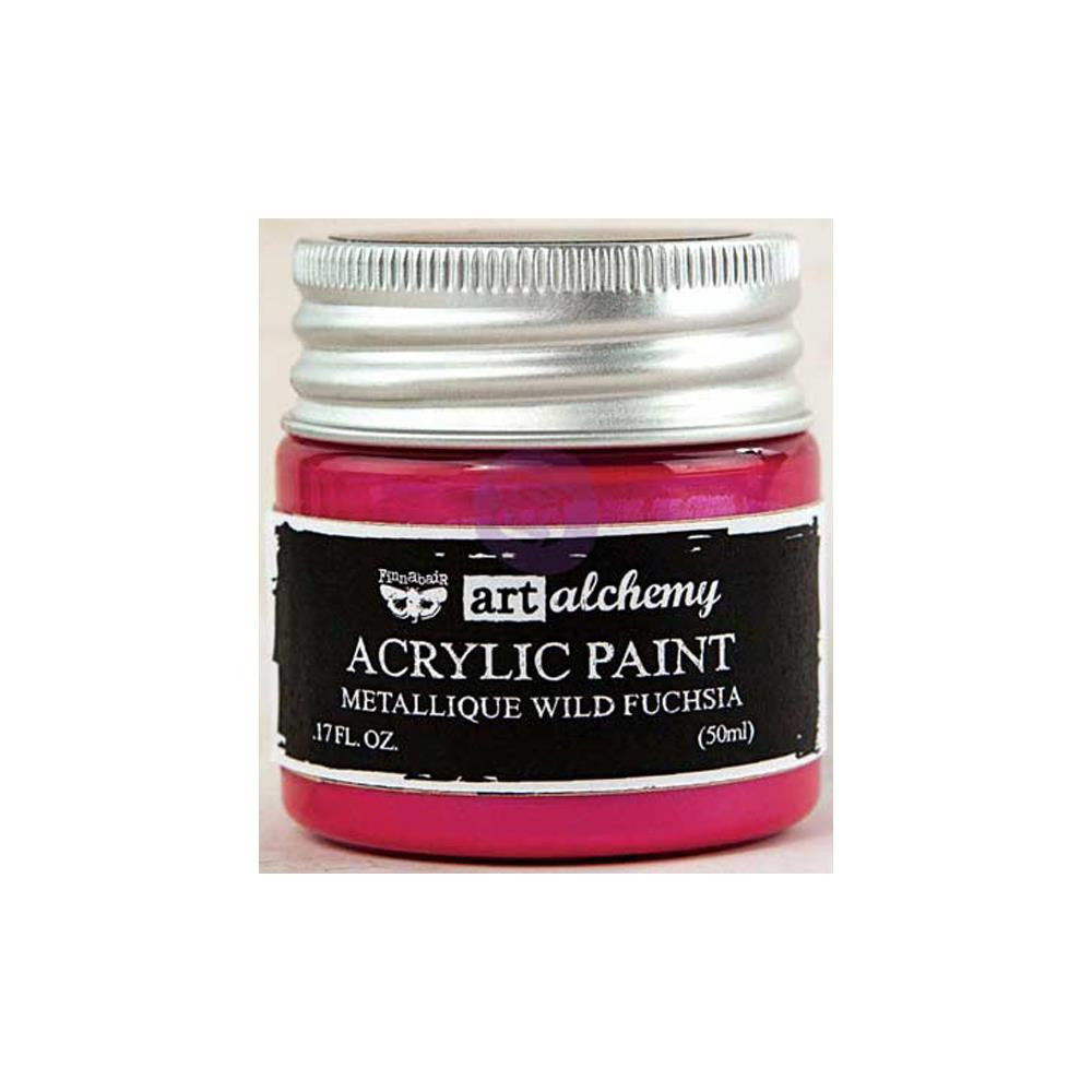 Finnabair Art Alchemy, Acrylic Paint 1.7 Fluid Ounces - Metallique Wild Fusia