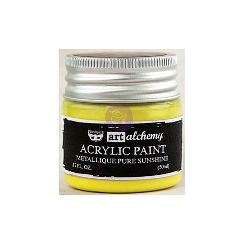 Finnabair Art Alchemy, Acrylic Paint 1.7 Fluid Ounces - Metallique Pure Sunshine