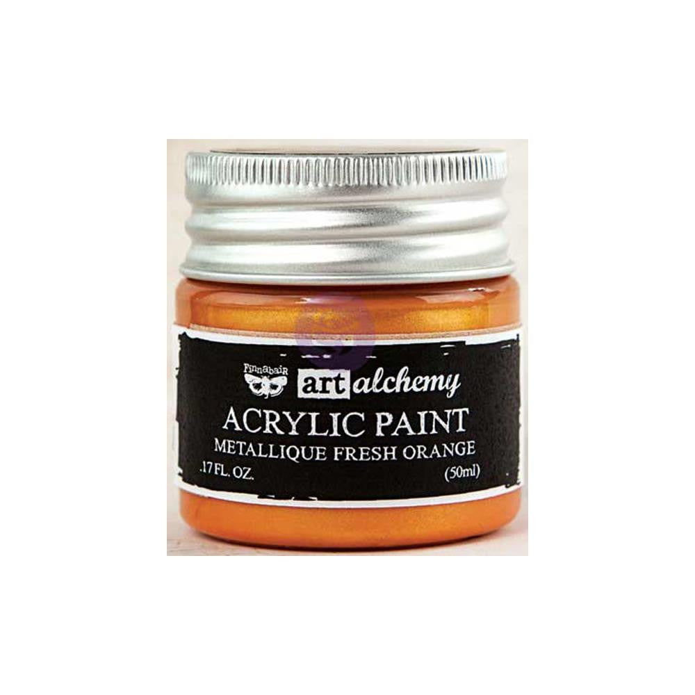 Finnabair Art Alchemy, Acrylic Paint 1.7 Fluid Ounces - Metallique Fresh Orange