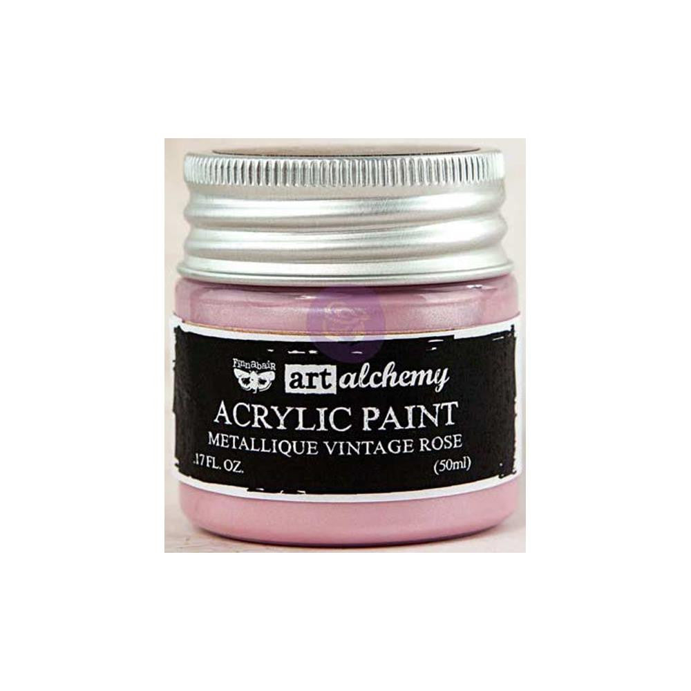 Finnabair Art Alchemy, Acrylic Paint 1.7 Fluid Ounces - Metallique Vintage Rose
