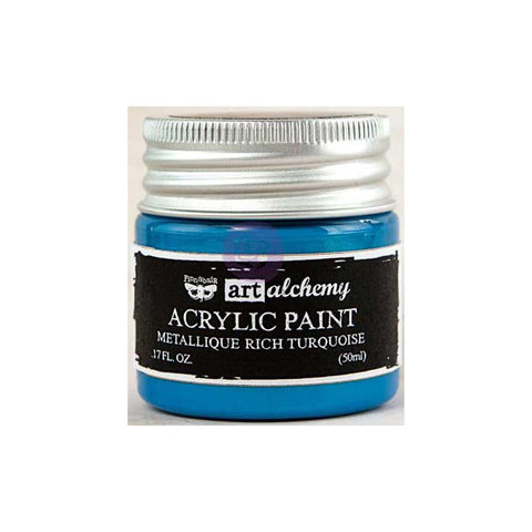 Finnabair Art Alchemy, Acrylic Paint 1.7 Fluid Ounces - Metallique Rich Turquoise